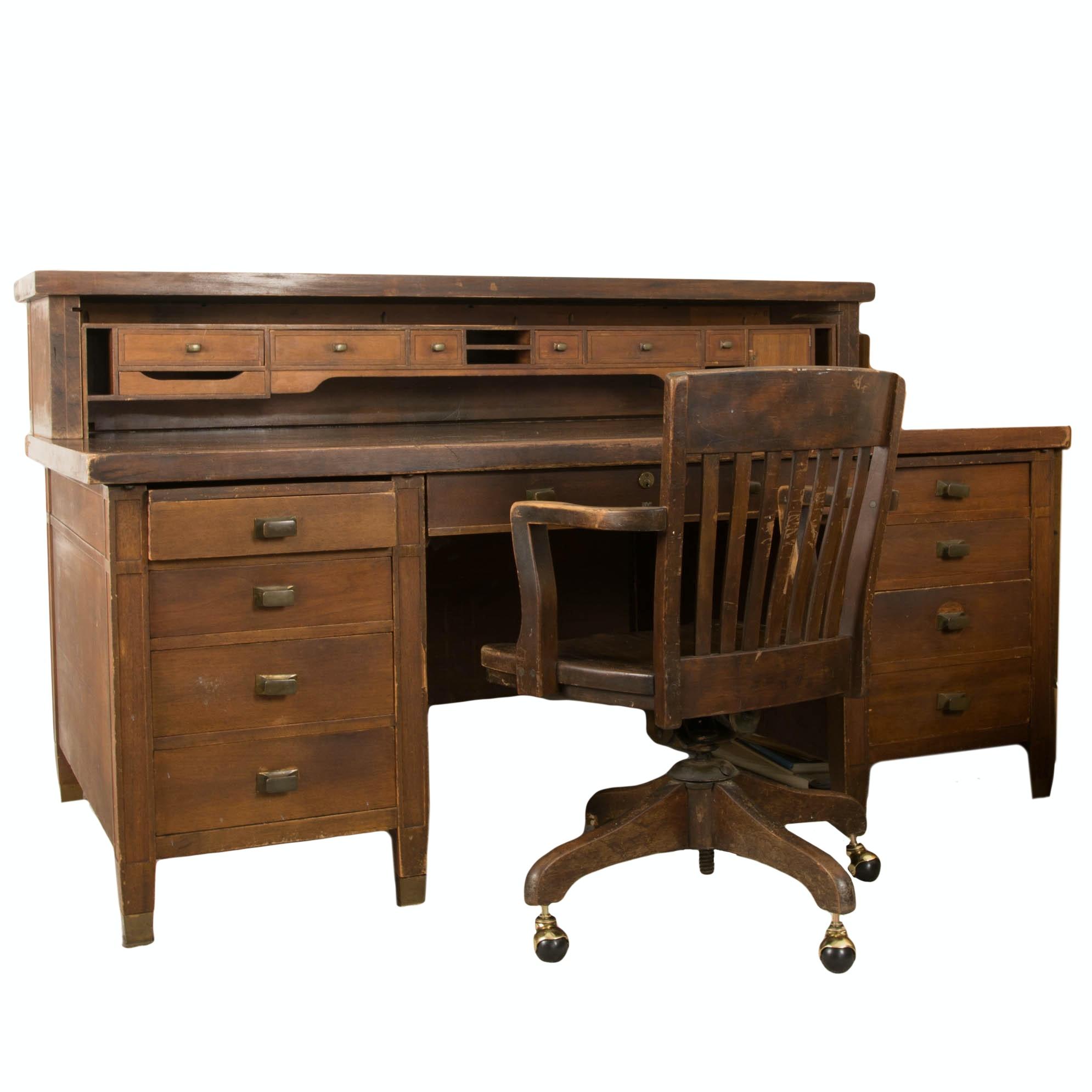 Vintage Cutler Railway Station Walnut Desk with Office Chair