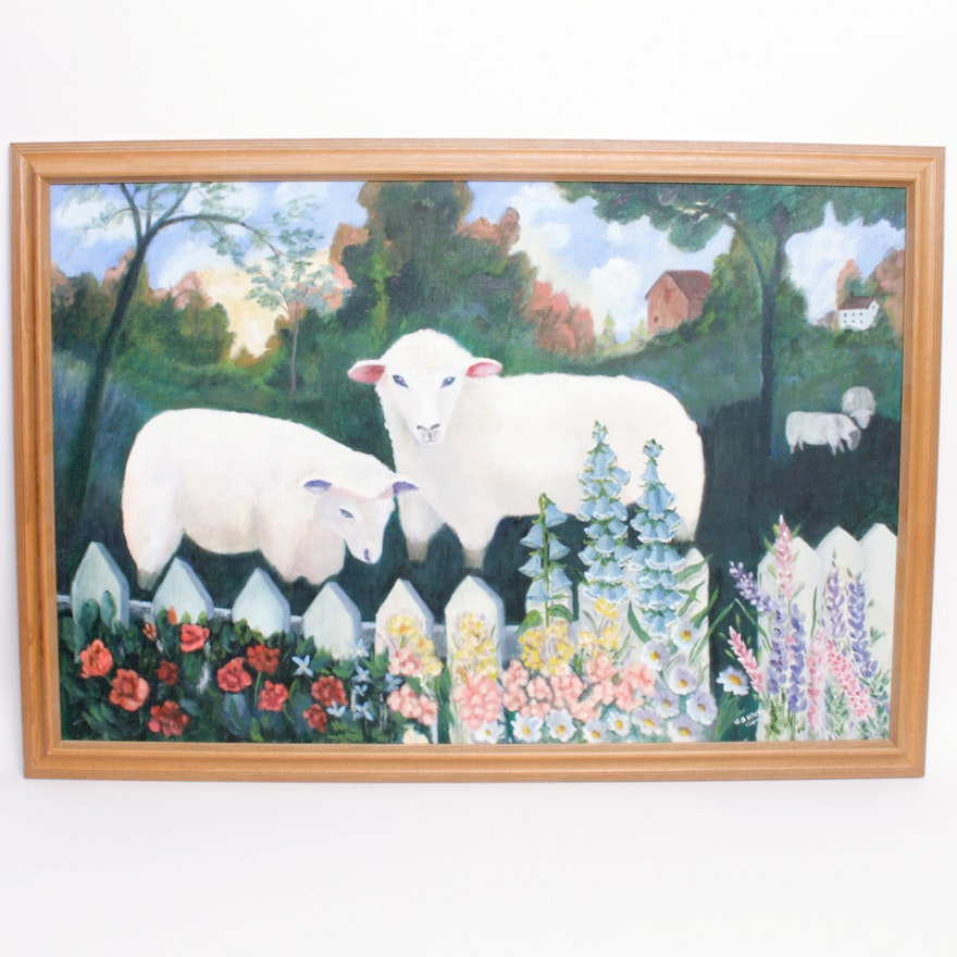 Original Oil Sheep Painting Signed Gb Wilkin Ebth