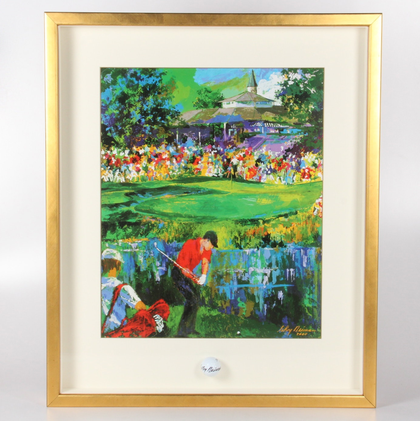 """LeRoy Neiman """"PGA Championship 2000"""" Serigraph Framed with Signed Golf Ball"""