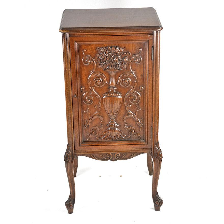 Vintage Hand Carved Walnut Sheet Music Cabinet ... - Vintage Hand Carved Walnut Sheet Music Cabinet : EBTH