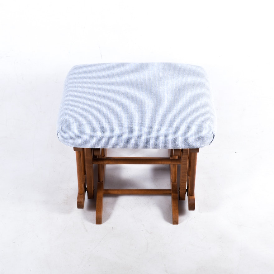 Eagle Dutailier Glider And Ottoman With Blue Cushions Ebth