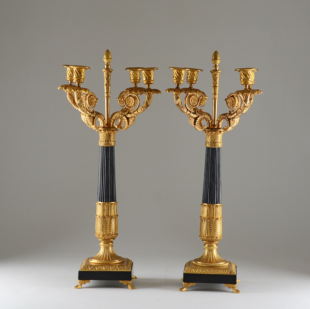 Pair of Fire-Gilded French Empire Candelabra