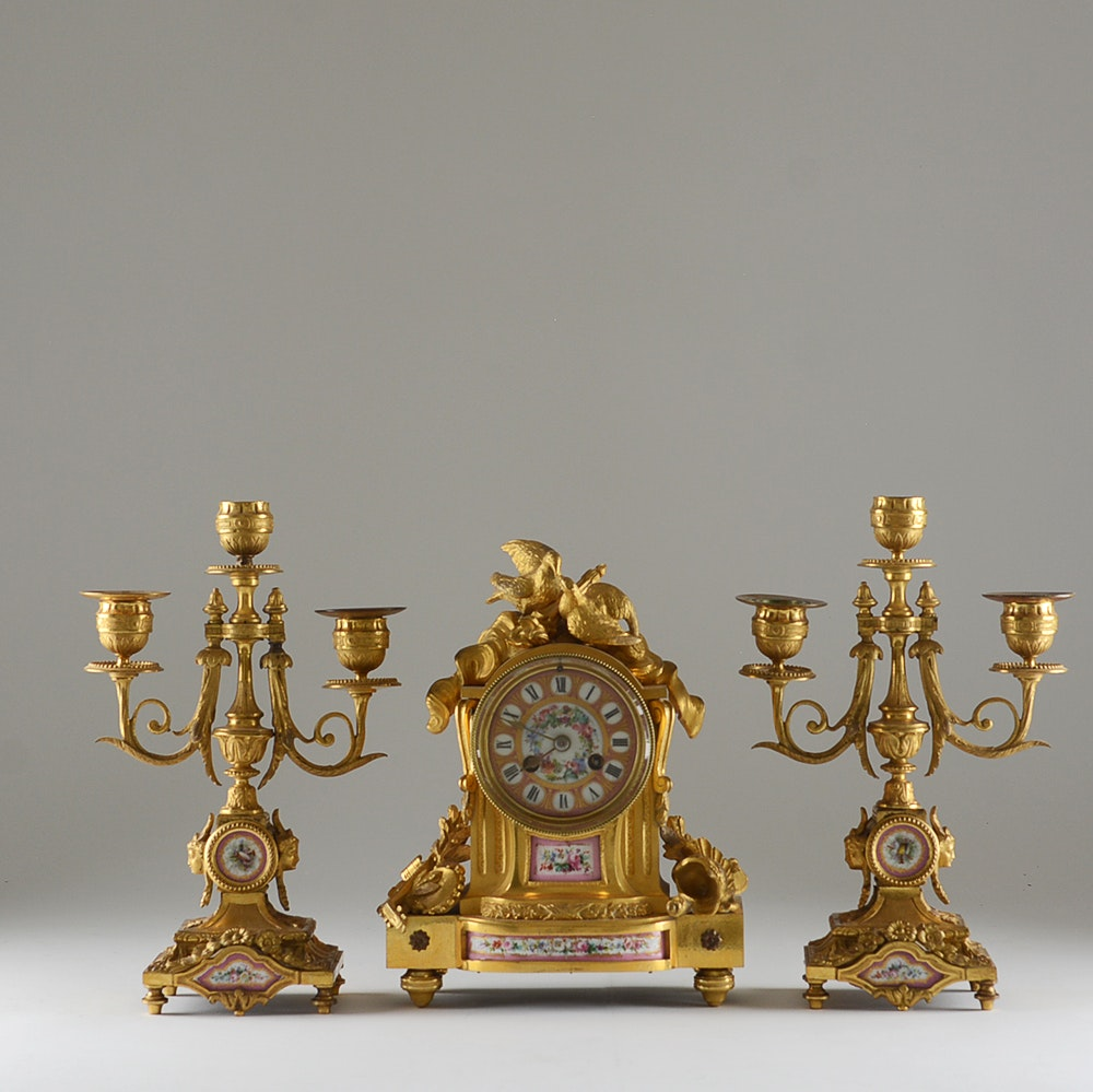 Fire-Gilded Rococo Revival Garniture Mantel Clock with Candleabra