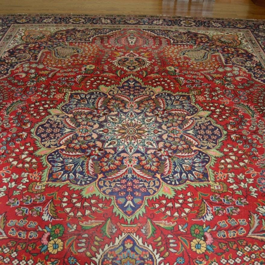 Persian Style Wool Area Rug Ebth: Hand-woven Mashad Style Wool Area Rug