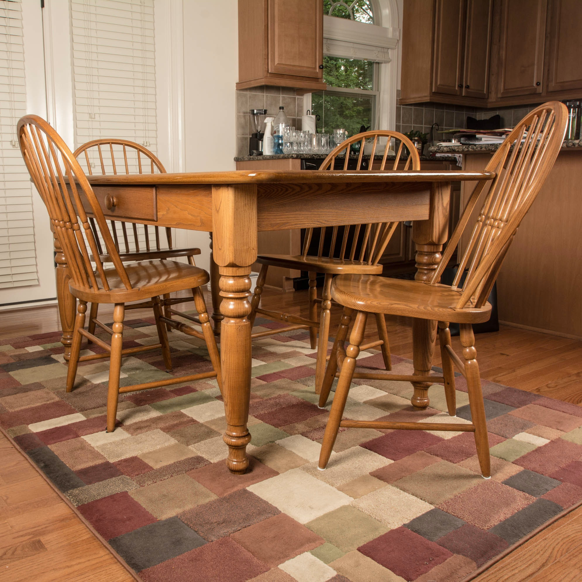 S Bent & Bros Oak Farmhouse Style Dining Room Table and Chairs EBTH
