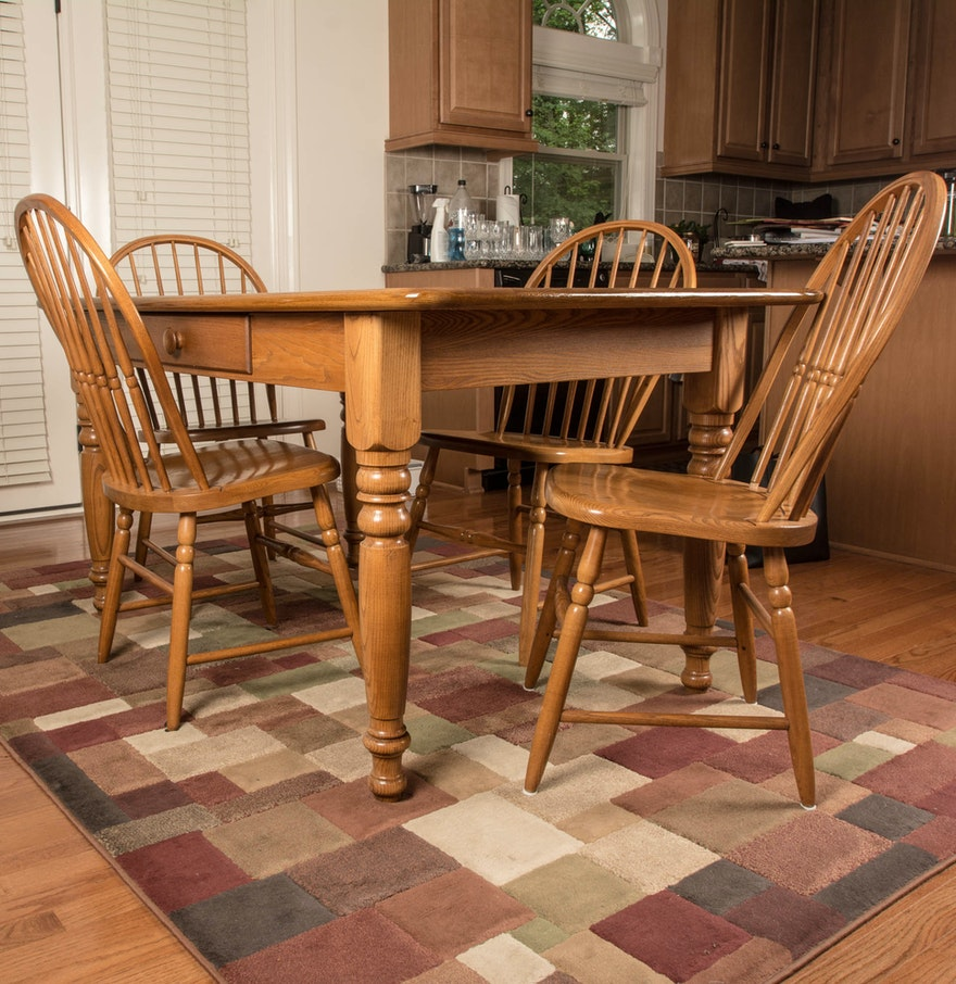 bent bros oak farmhouse style dining room table and chairs ebth