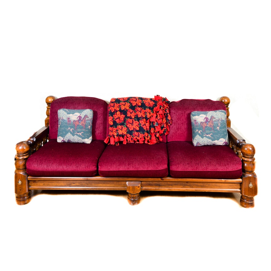 Red Corduroy Upholstered Sofa with Large Turned Legs