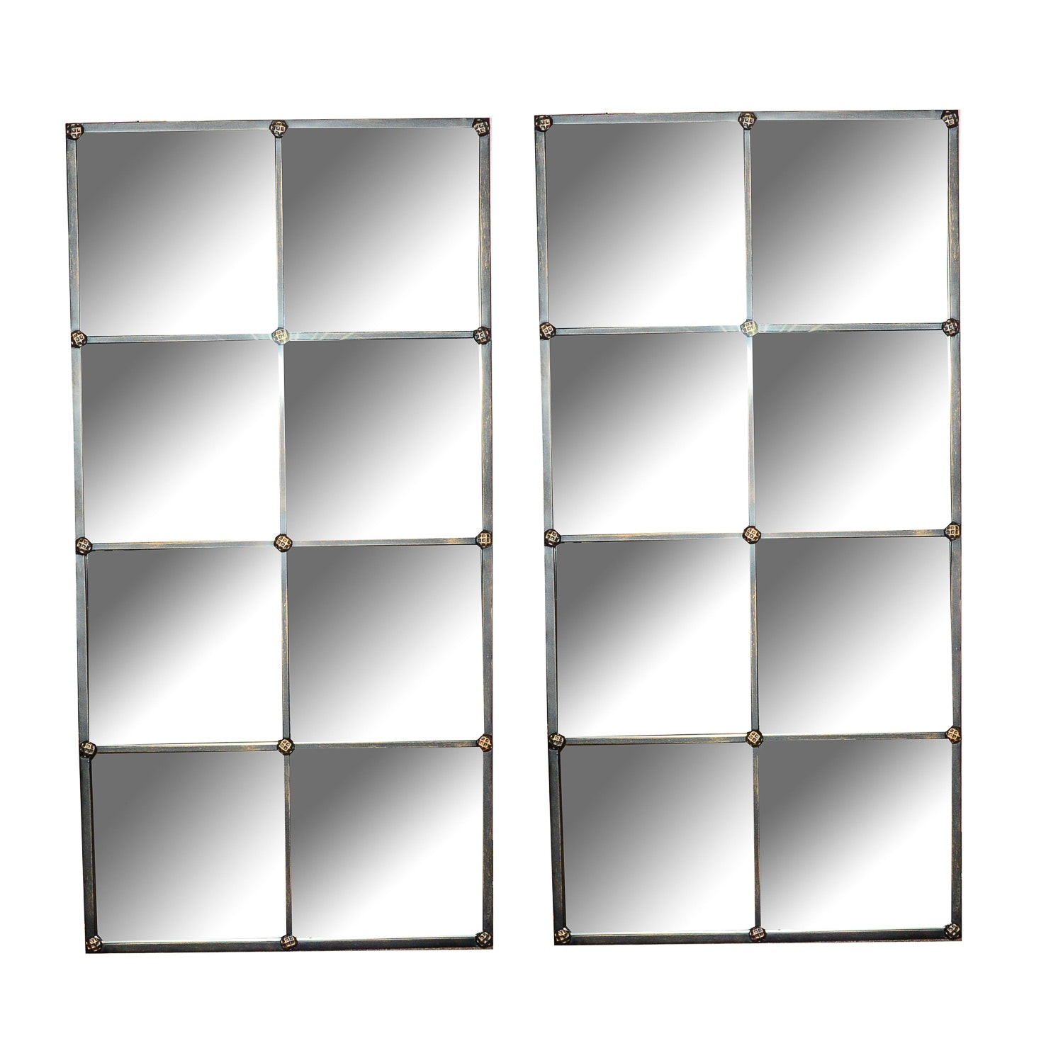 Pair of Ballard Designs Paned Wall Mirrors EBTH