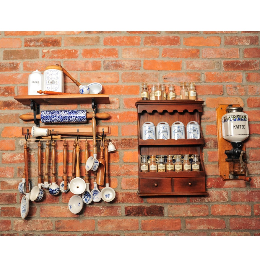 Kitchen Utensil Wood And Wrought Iron Display Rack And
