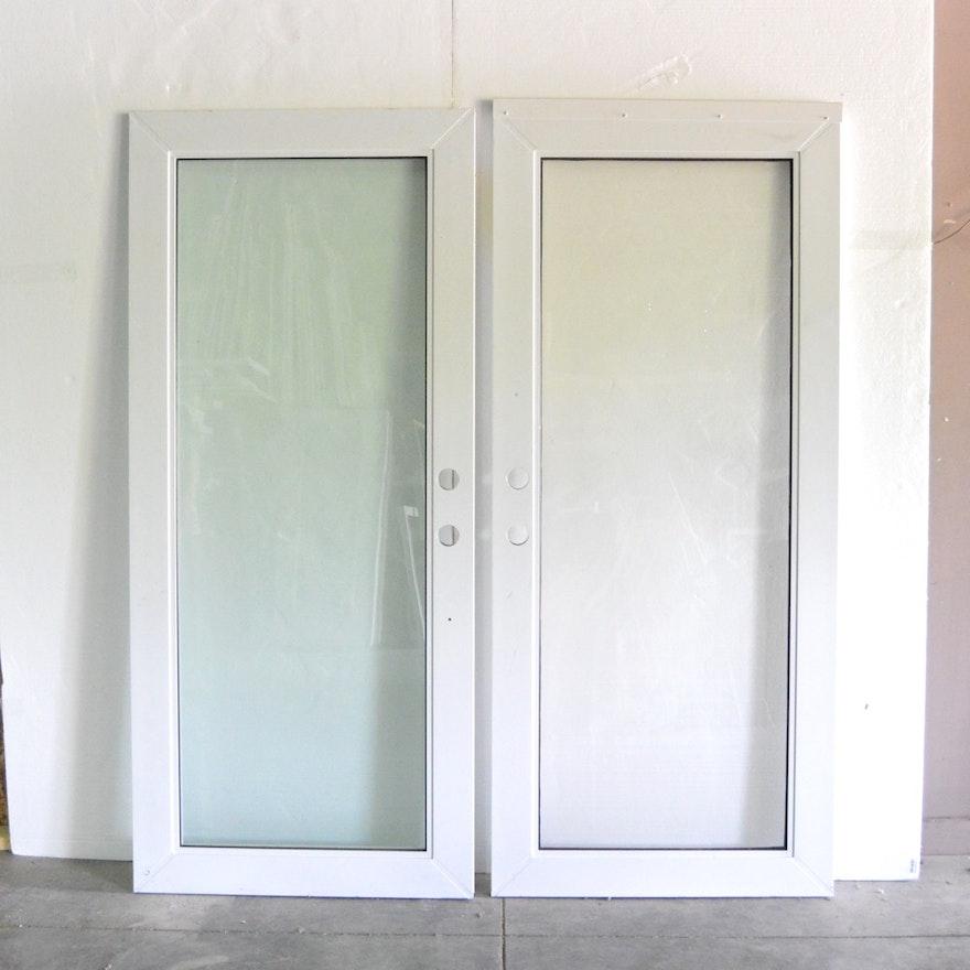 Two Metal Frame Glass Panel Doors : EBTH