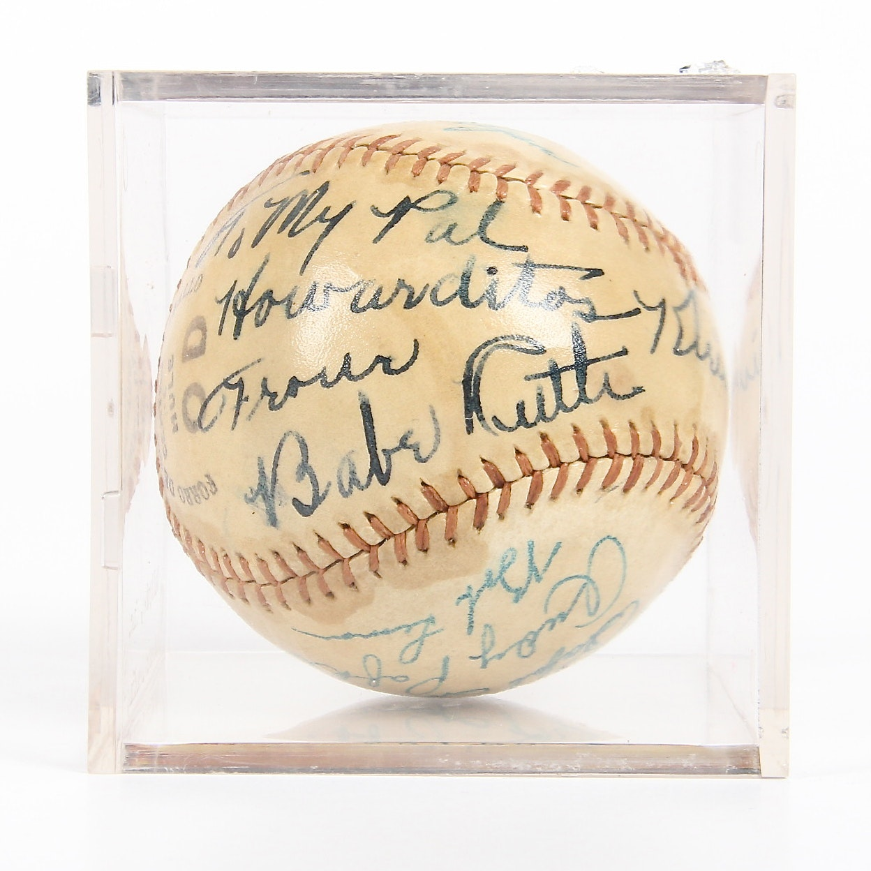 Vintage Babe Ruth, Jackie Robinson and Bob Feller Signed Baseball with Other Signatures