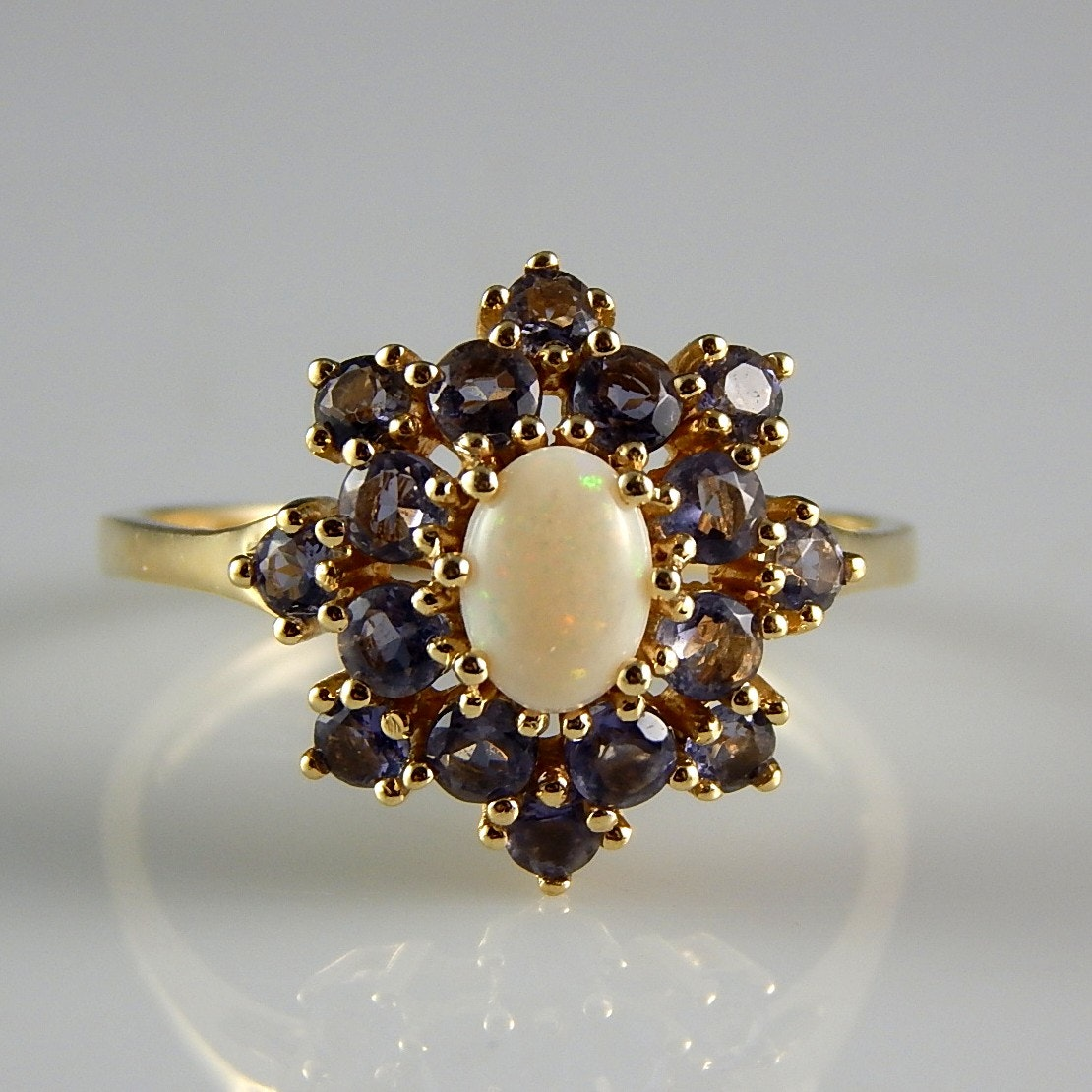 14k yellow gold opal and tanzanite ring ebth