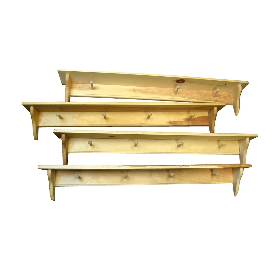 Four Unfinished Wood Wall Shelves With Hooks