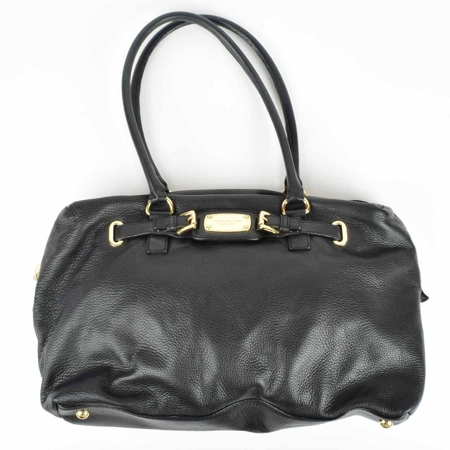 c1b0a885c9ac Michael by Michael Kors Hamilton Black Leather Weekender Bag | EBTH