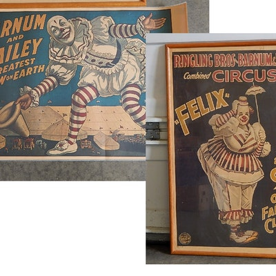 Two Vintage Barnum And Bailey Circus Clown Posters