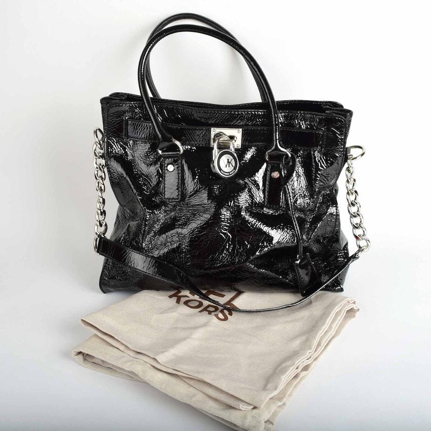 d5900d5ccb008b Michael by Michael Kors Hamilton Black Patent Leather Tote : EBTH