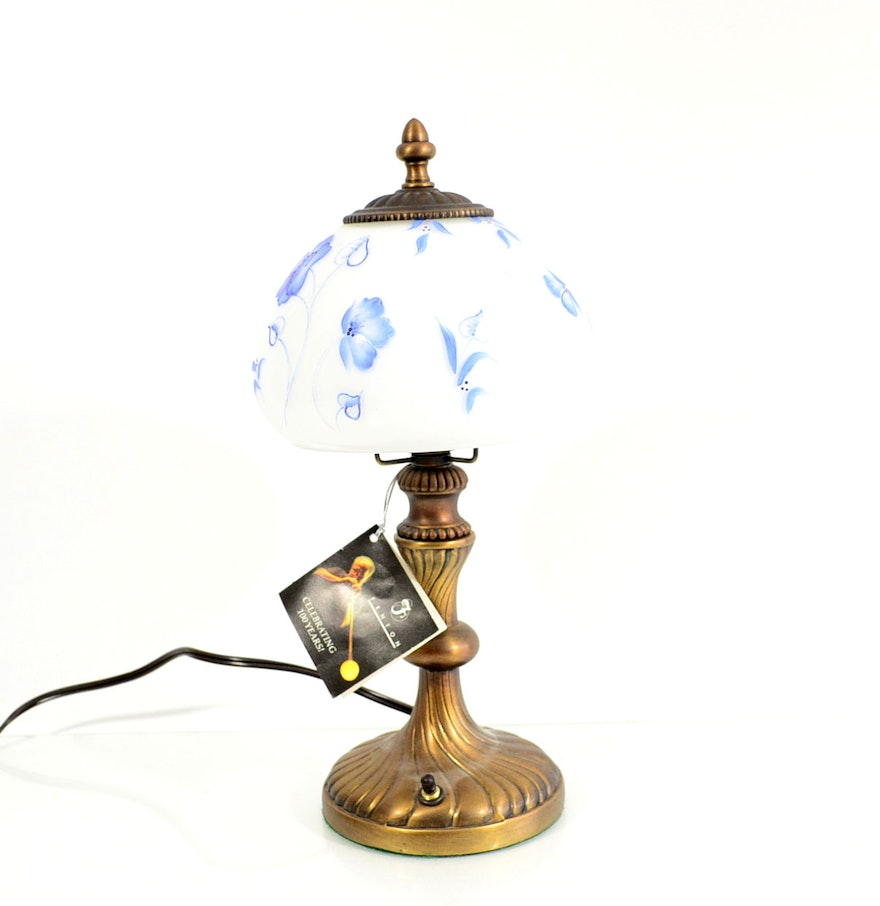 Hand Painted Lamp Shades: Fenton Hand-Painted Lamp Shade With Lamp : EBTH
