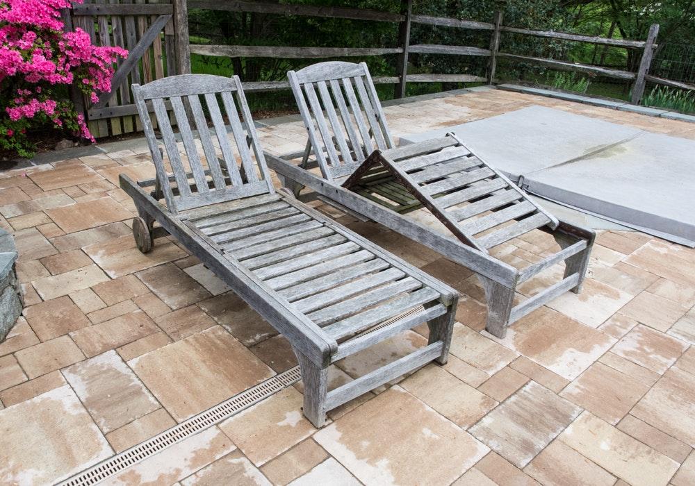 Pair Of Smith U0026 Hawken Teak Patio Lounge Chairs ...