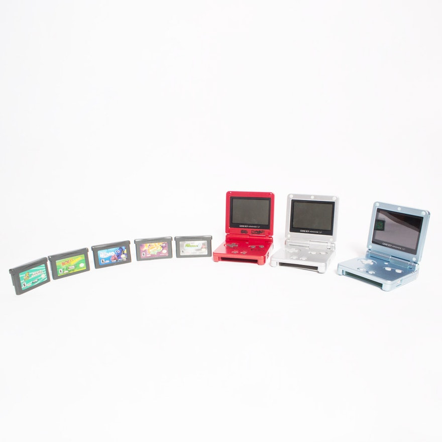 Trio of Gameboy Advanced Handheld Consoles with Games : EBTH