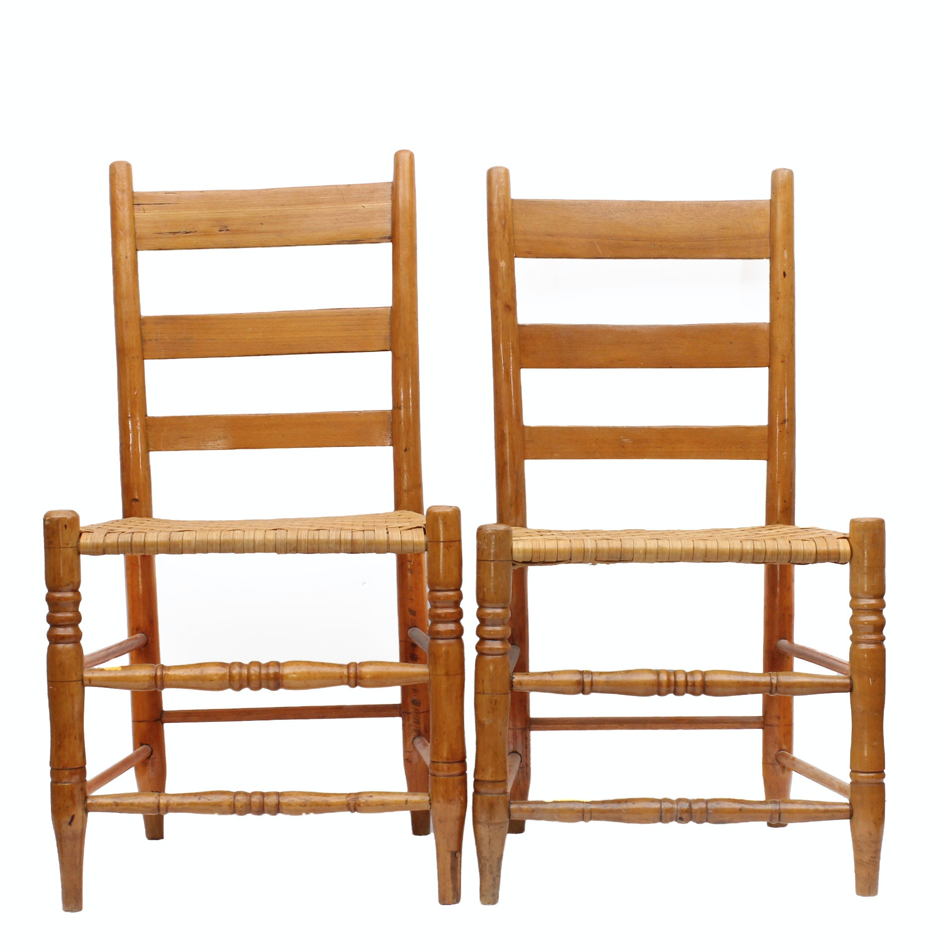 Children's Amish Maple Ladder Back Chairs With Basket