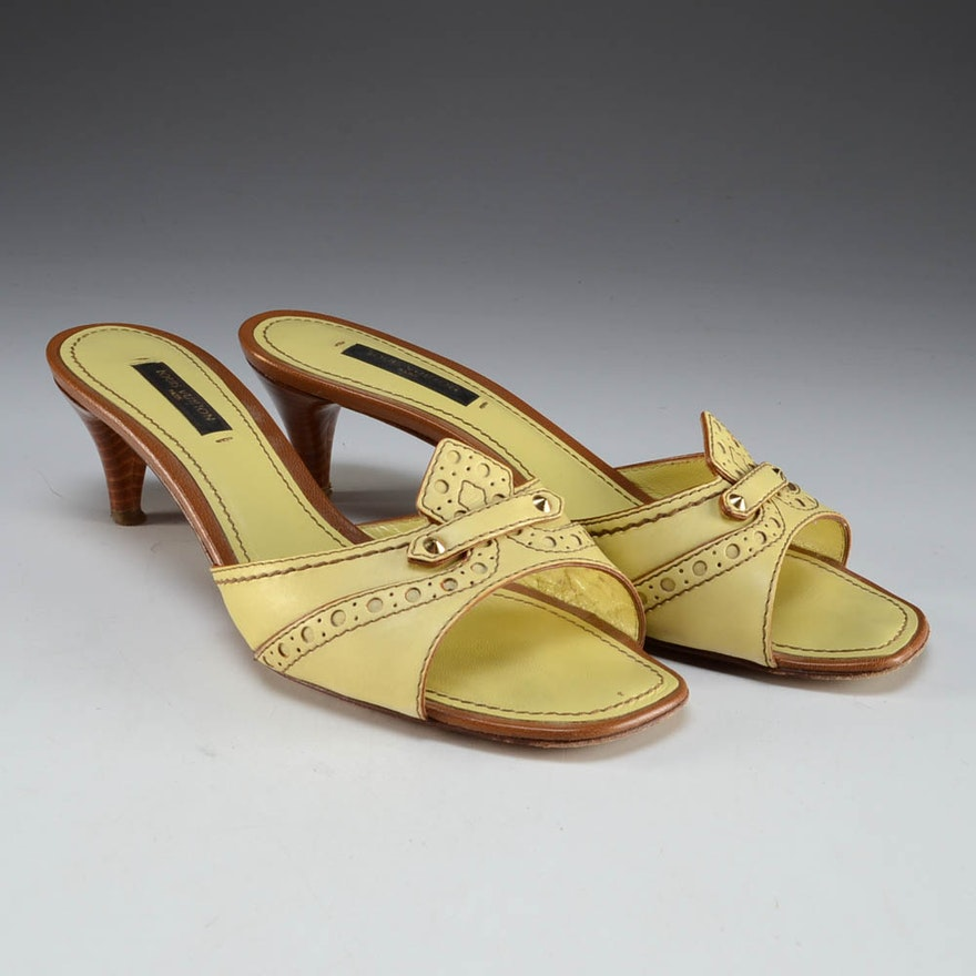 48ee4241cef1 Louis Vuitton Designer Yellow Leather Kitten Heel Slide Sandals   EBTH