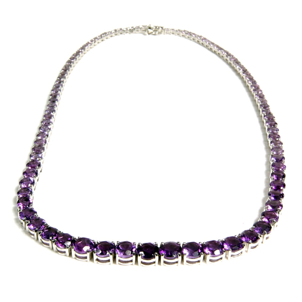 Sterling Silver Graduated Amethyst Riviera Necklace
