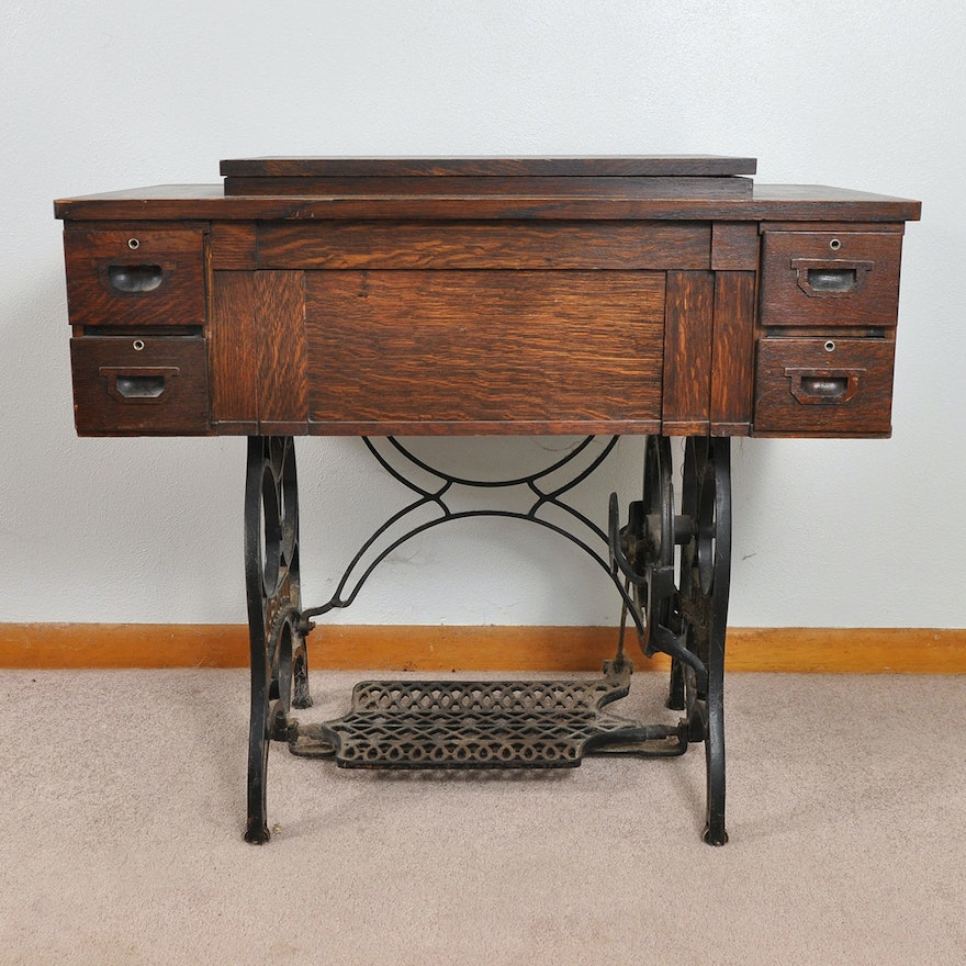 Antique Eldredge Two Spool Treadle Sewing Machine And Table