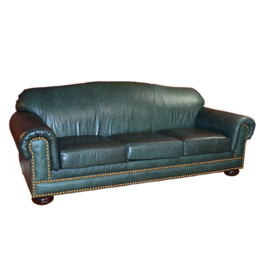 Hunter Green Flexsteel Leather Sofa