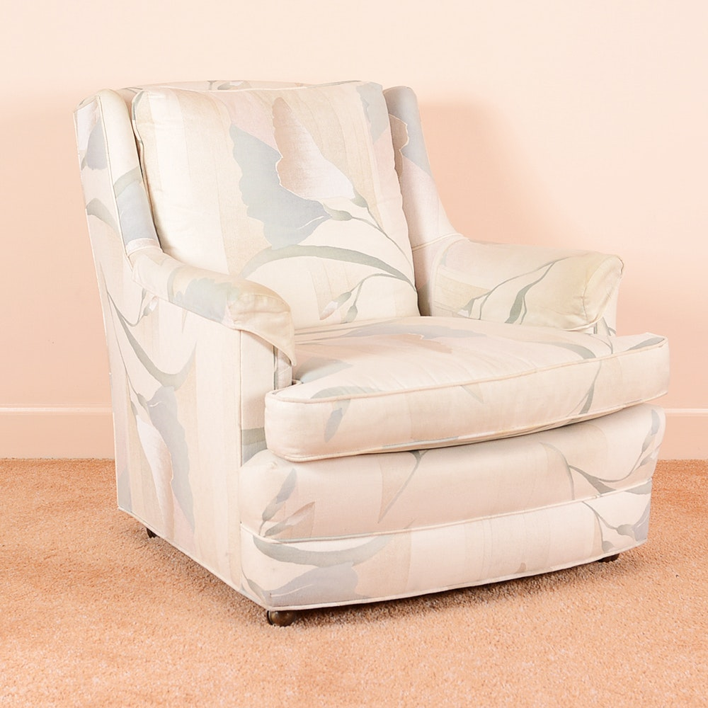 Vintage Gray And Peach Floral Club Chair ...