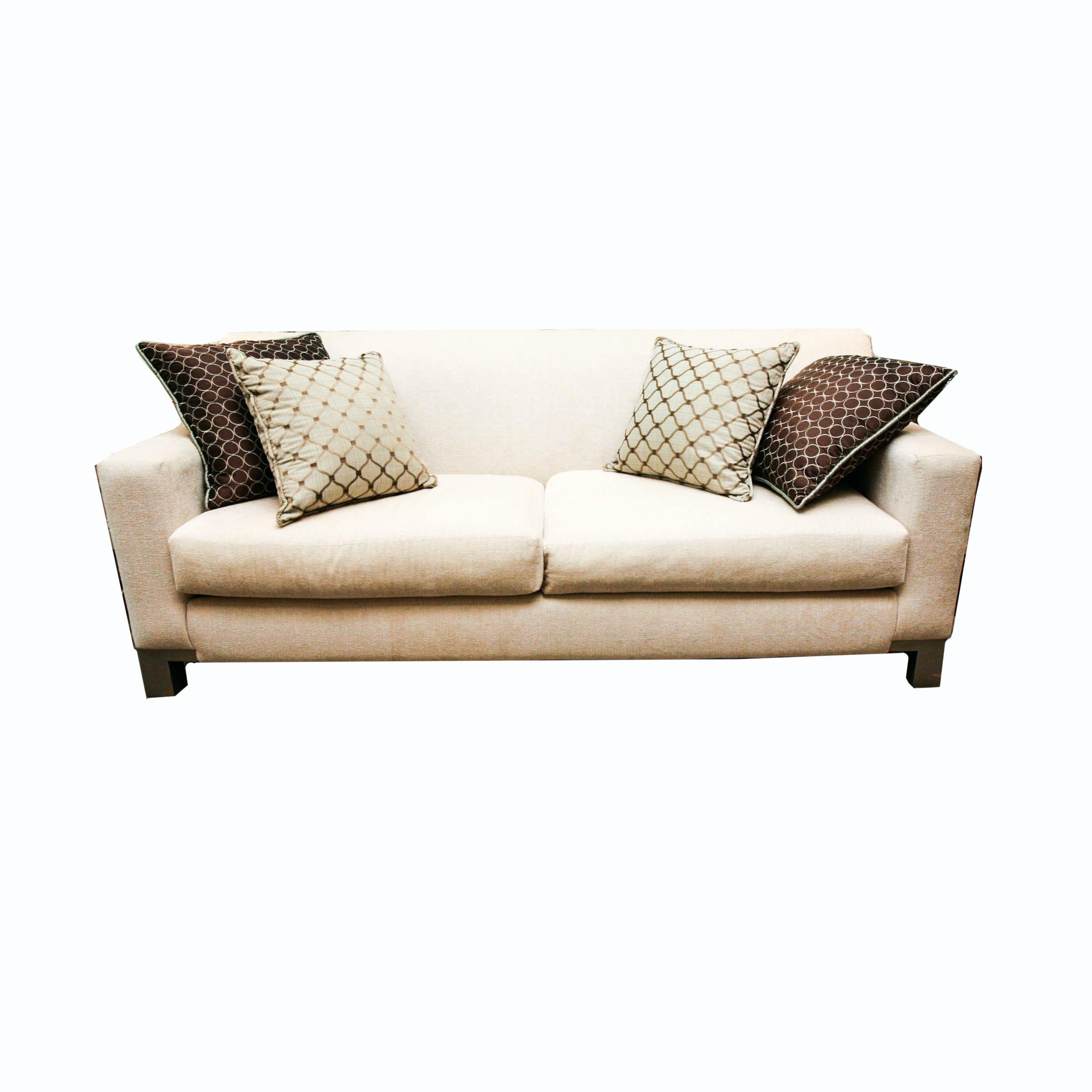 Contemporary Cream Chenille Sofa With Wood Legs ...