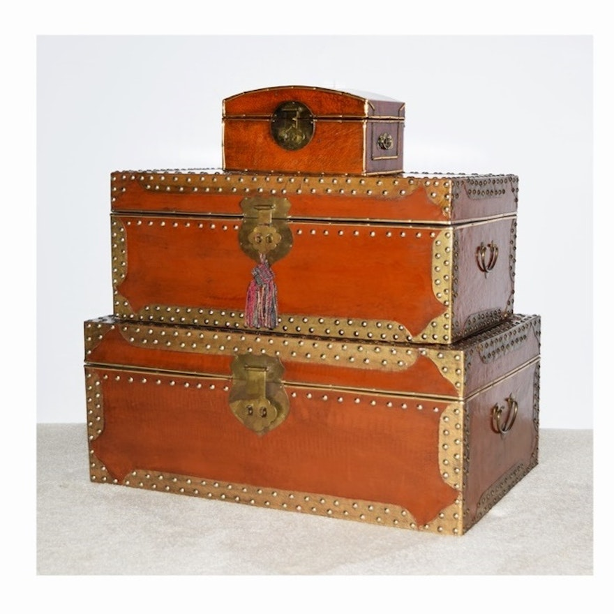 Two Stacked Decorative Lacquered Trunks With Gold Tone Studs Ebth