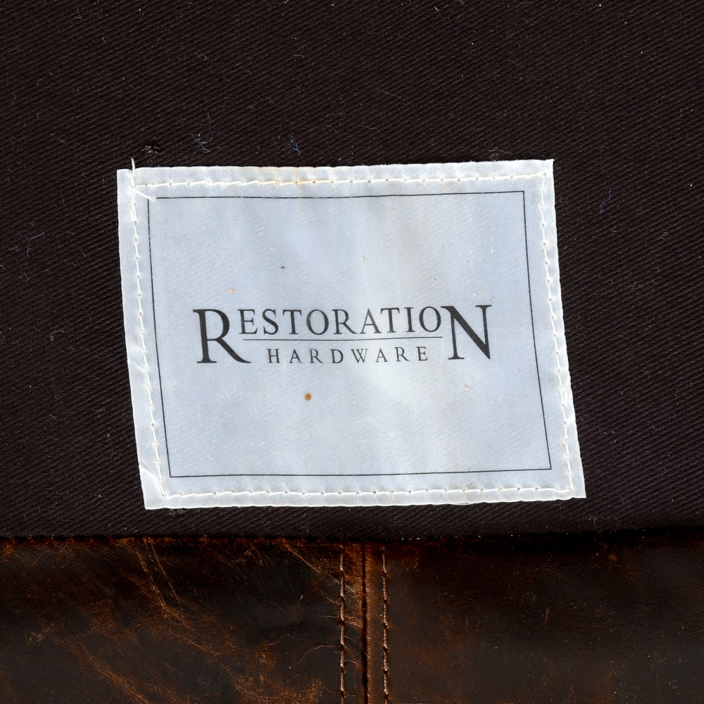 Restoration Hardware Quot Maxwell Quot Leather Sofa Ebth
