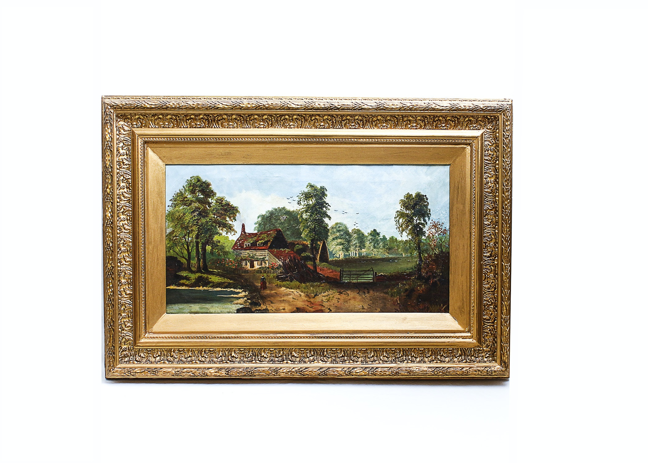 Antique 19th Century Pastoral Oil Painting After F. Hulme