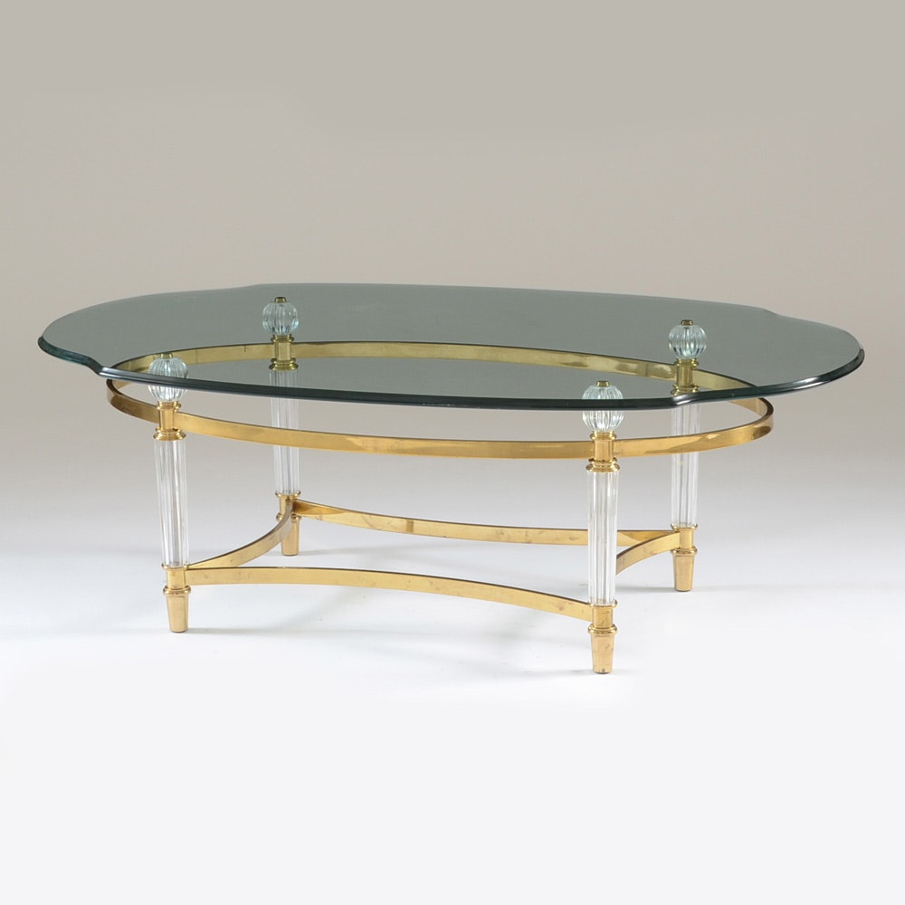 Oval Glass Top Coffee Table With Metal Base: Contemporary Oval Glass Coffee Table On Brass Tone Metal