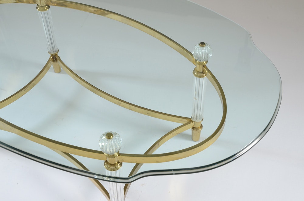 Contemporary Oval Glass Coffee Table On Brass Tone Metal