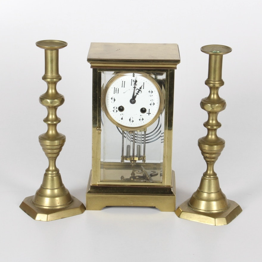 Vintage Brass Bailey Banks Biddle Carriage Clock And Candlesticks Ebth