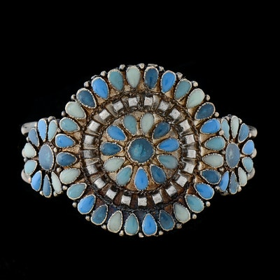 Southwestern Mixed Metal Cuff Openwork Bracelet with Simulated Blue Stone Cabochons