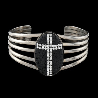 Sterling Silver Openwork Slit Cuff with Oval Bezel Set Lava Stone Encrusted with Crystal Rhinestones
