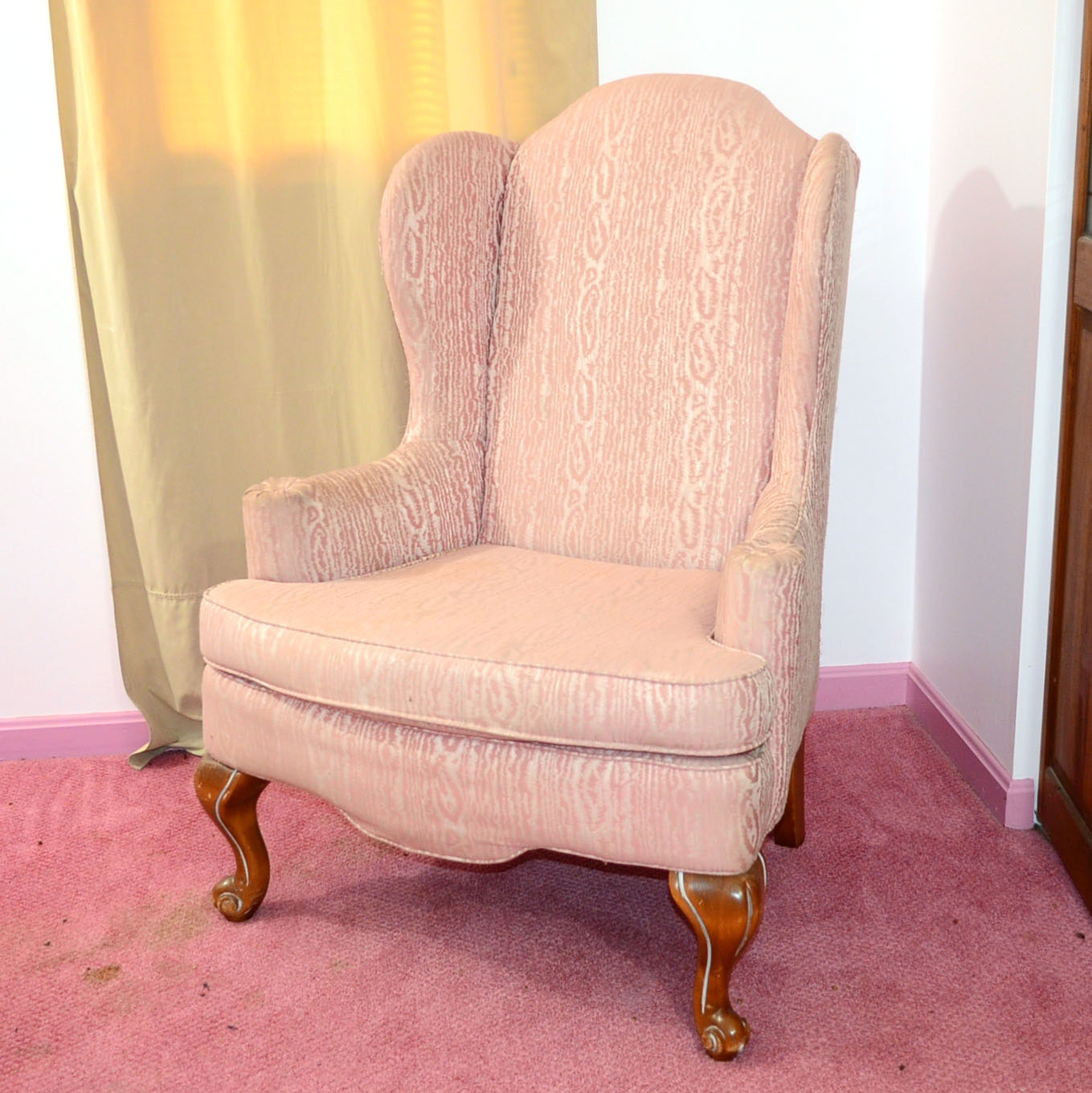 Wonderful Schnadig Pink Upholstered Wingback Chair ...
