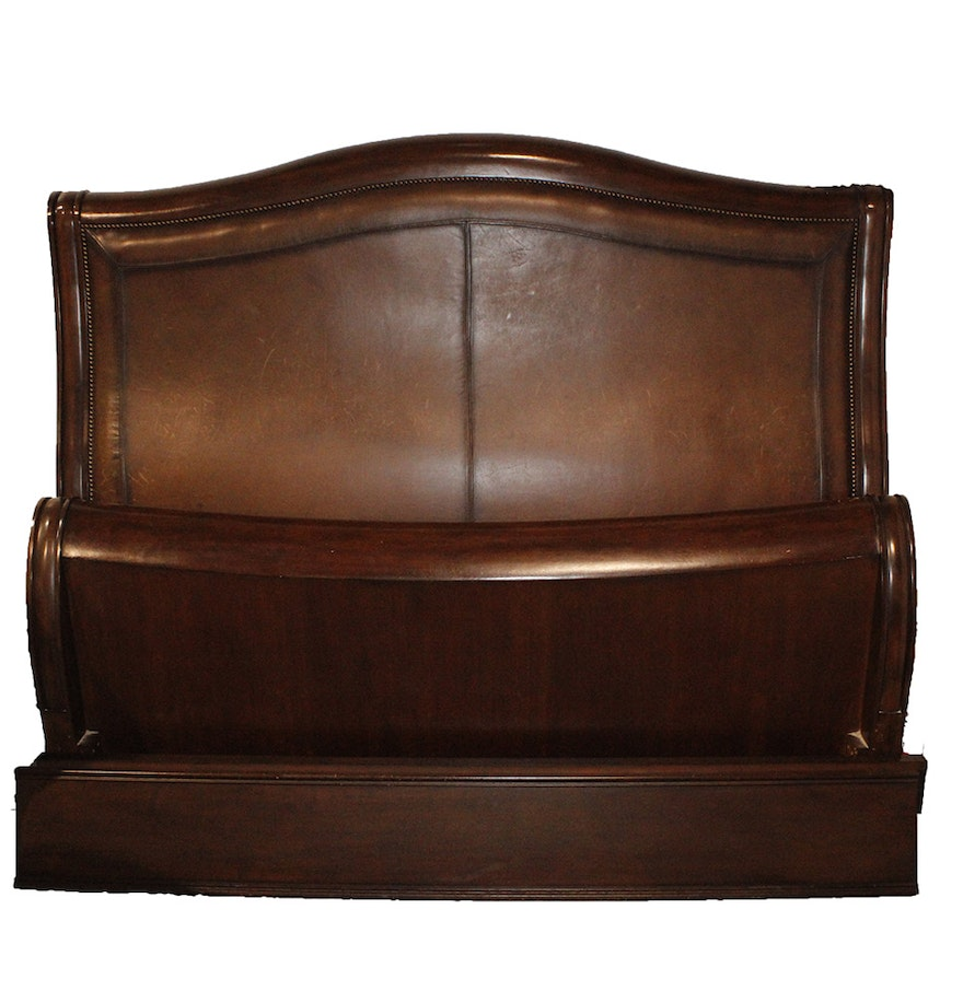 wood and leather king size sleigh bed frame
