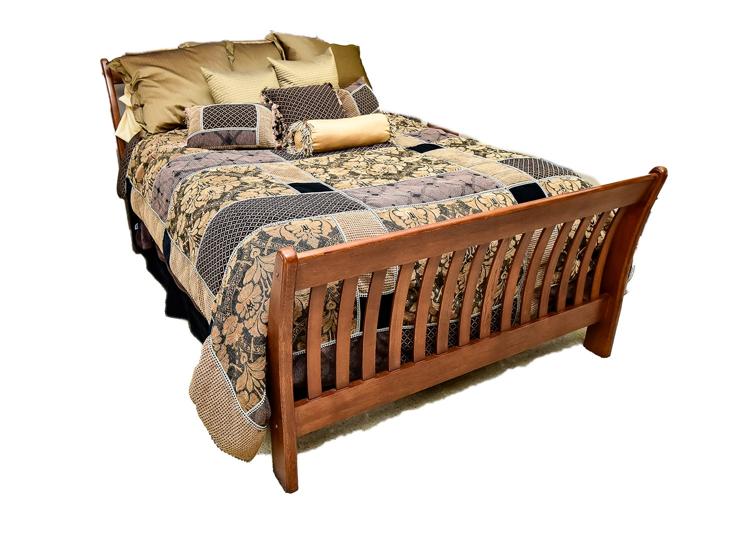 Queen Size Mission Style Sleigh Bed
