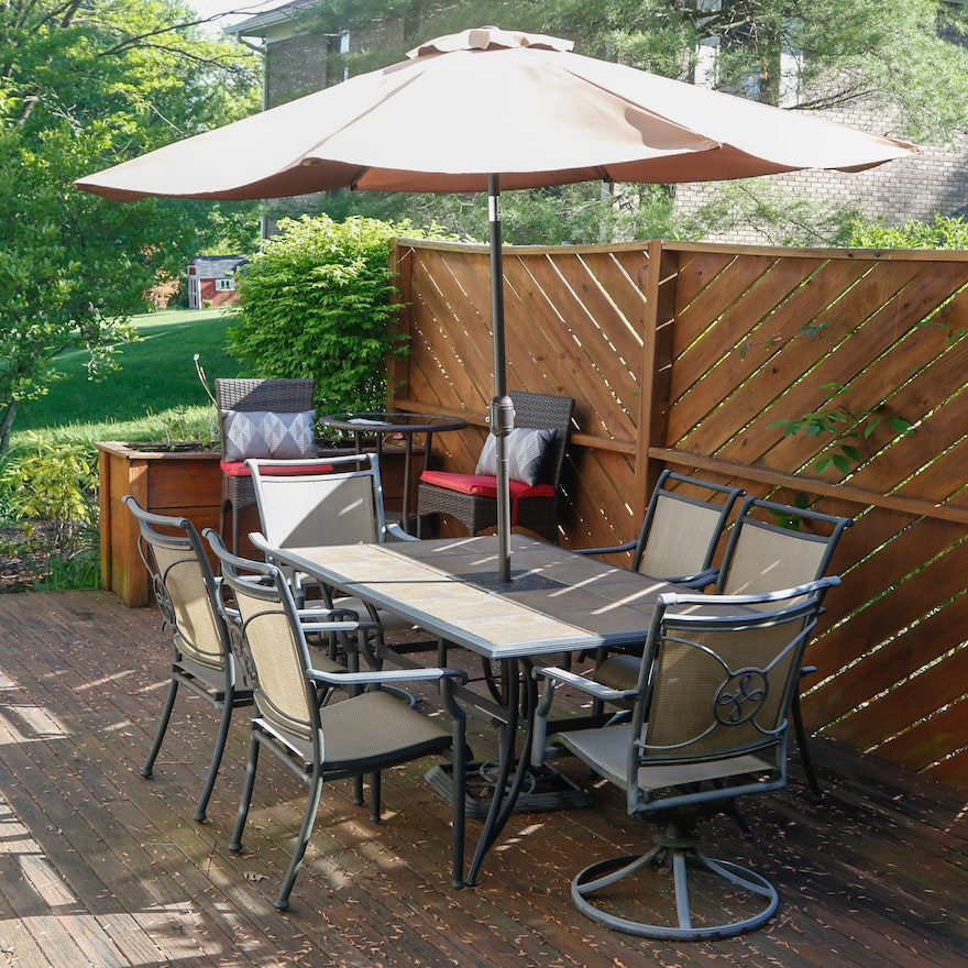 Ceramic Tile Top Patio Dining Table And Chairs With Umbrella