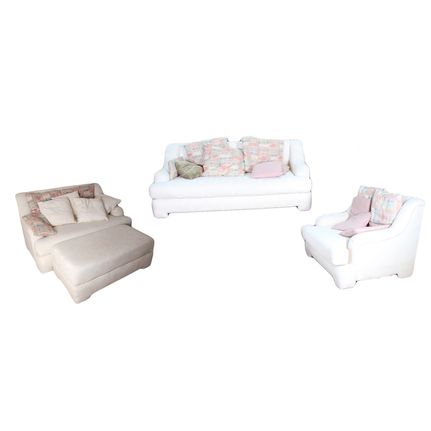 Awe Inspiring White Sofa Loveseat Chair And A Half And Ottoman Living Room Set Spiritservingveterans Wood Chair Design Ideas Spiritservingveteransorg