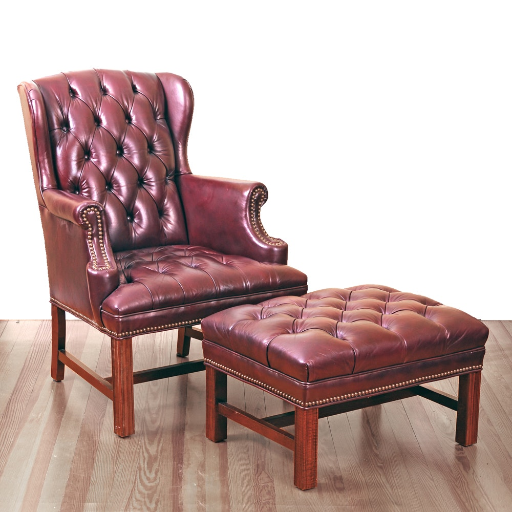Fairfield Tufted Leather Wing Back Chair And Ottoman ...