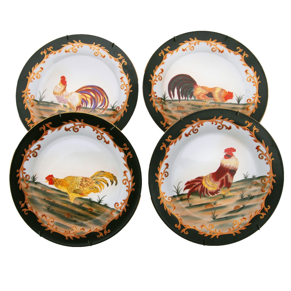 Set of Four Hand Painted Decorative Rooster Plates ...  sc 1 st  EBTH.com & Set of Four Hand Painted Decorative Rooster Plates : EBTH