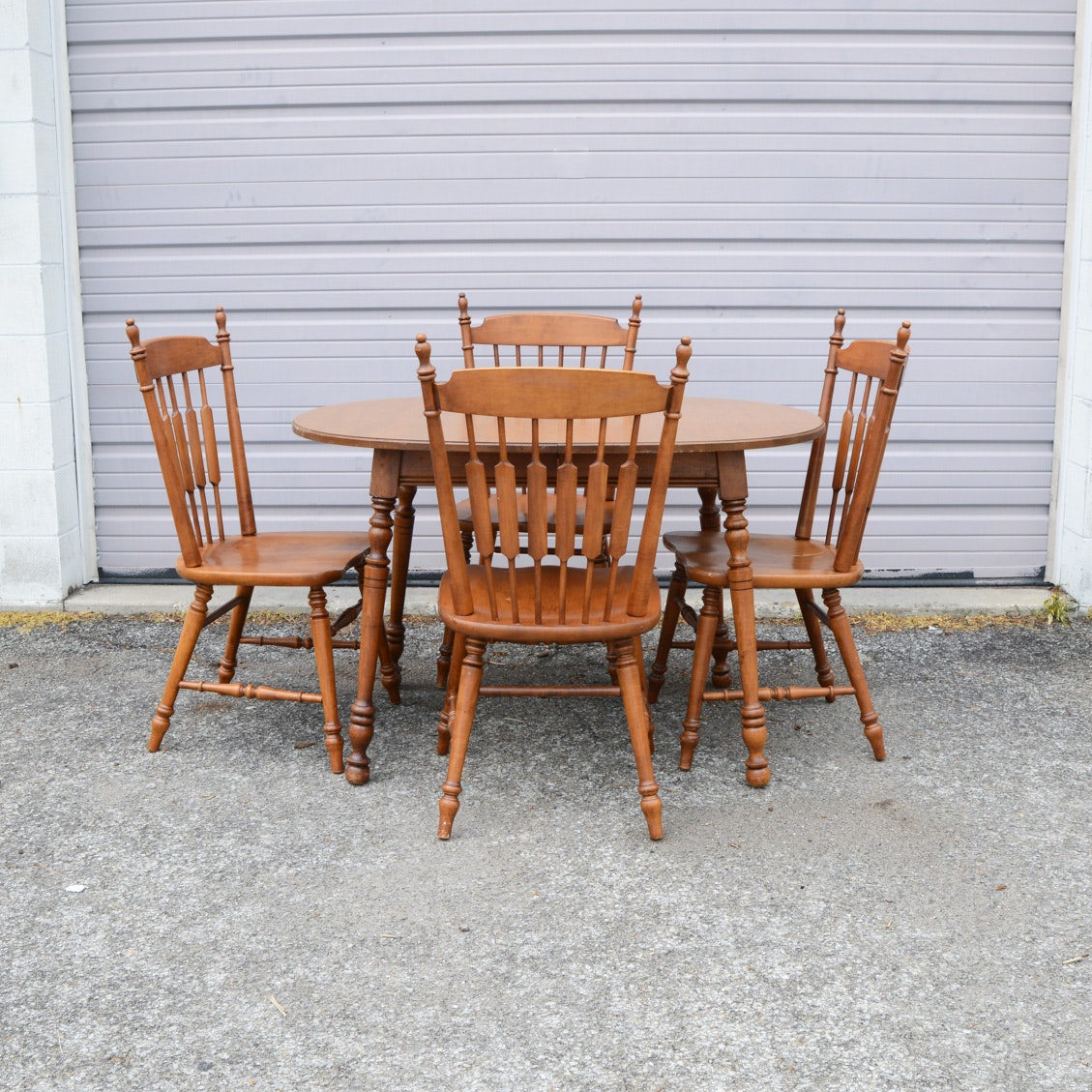 """Maple Kitchen Table With Chair And Bench Ebth: Vintage Tell City """"Andover"""" Rock Maple Dining Table And"""