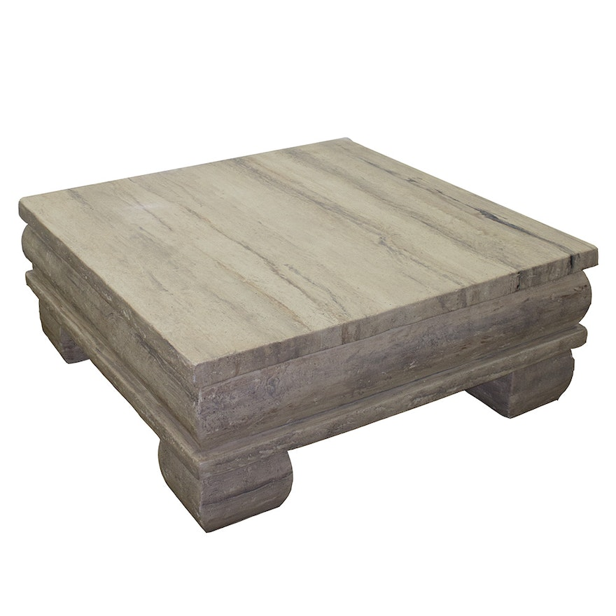 Faux Stone Coffee Table: Faux Stone Plaster Coffee Table : EBTH