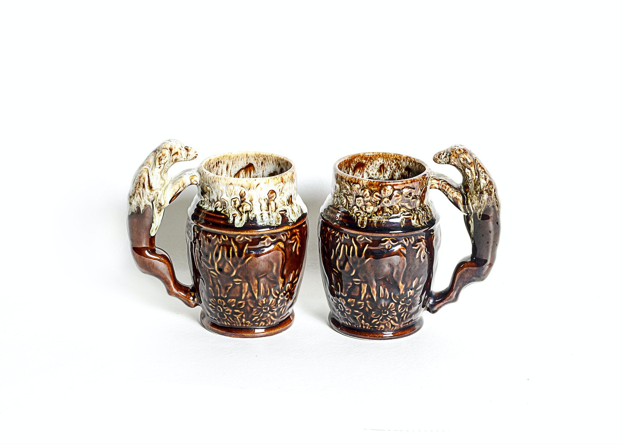 Antique Rockingham Harker Stag and Dog Mugs