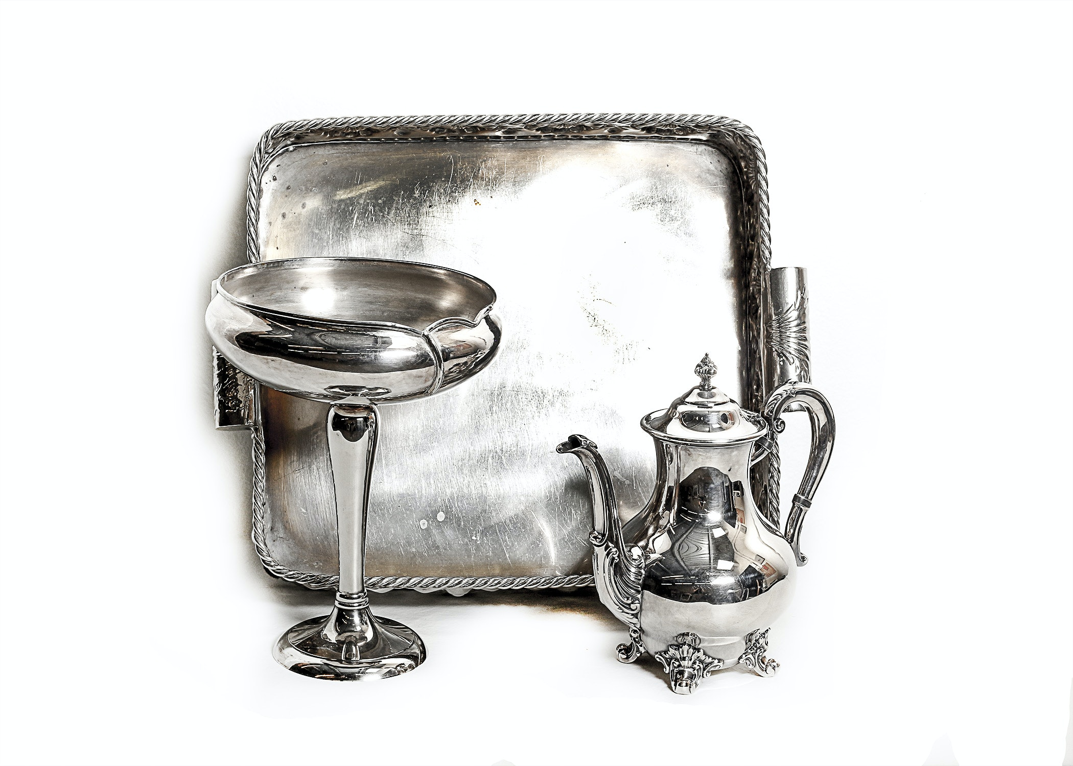 Trio of Silverplated Decor Items