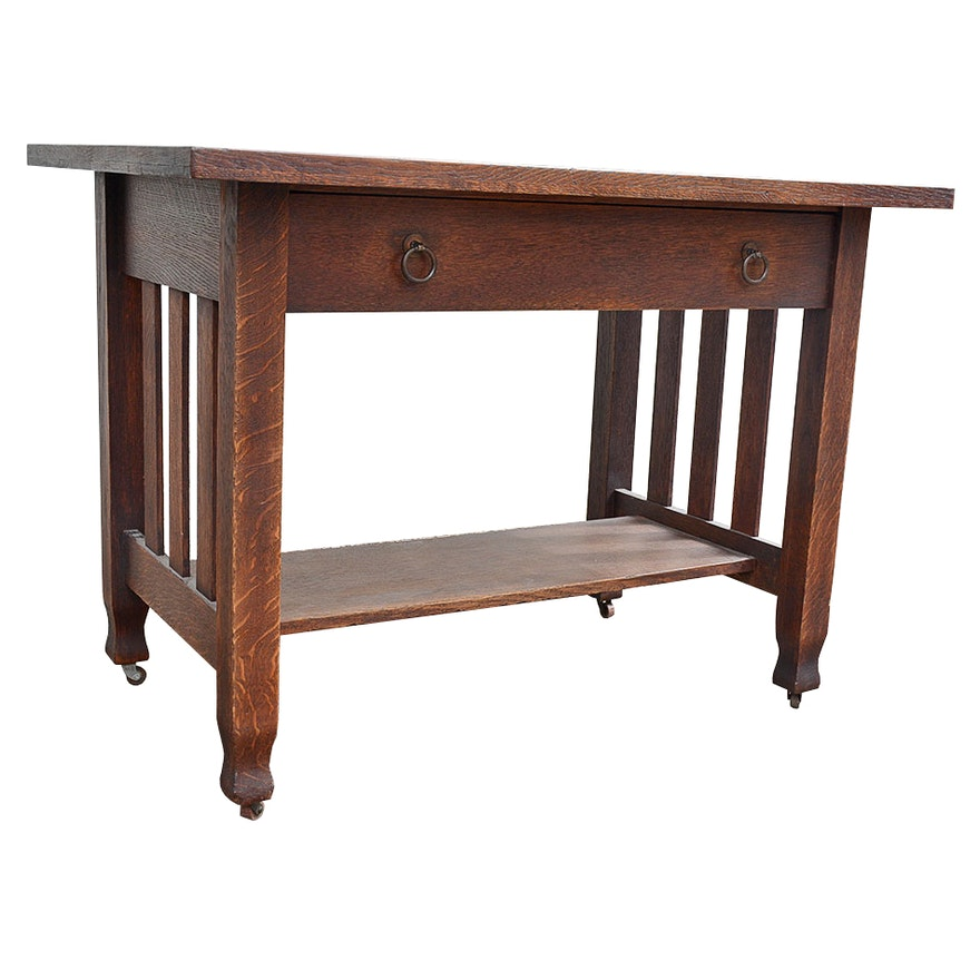 Antique Stickley Brothers Oak Mission Desk ... - Antique Stickley Brothers Oak Mission Desk : EBTH